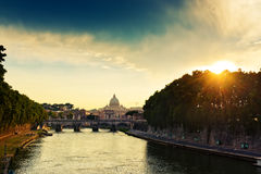 Evening view at St. Peter's cathedral in Rome. Italy Royalty Free Stock Photos