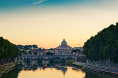 Evening view at St. Peter's cathedral in Rome Stock Photography