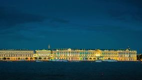 Evening view of the the State Hermitage Museum in St. Petersburg stock video footage
