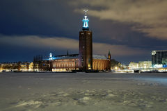 Evening view of the Stockholm City Hall at winter Royalty Free Stock Photo