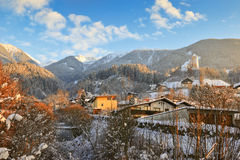 Evening view of the stream turning into ice in Schwaz, Austria Royalty Free Stock Photos