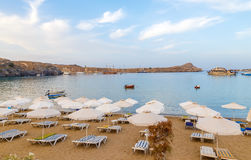 Evening view at sunset on stunning beach at Lindos on the Greek Island of Rhodes Stock Photo