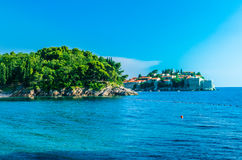 Evening view on Sveti Stefan island in Montenegro Royalty Free Stock Photography