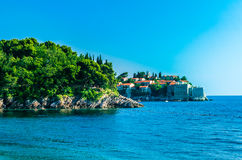 Evening view on Sveti Stefan island in Montenegro Stock Photography