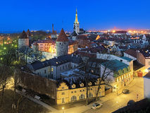 Evening view of the Tallinn Old Town, Estonia Stock Images