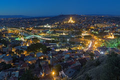 Evening view of Tbilisi, Georgia Stock Images