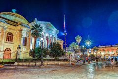 The evening view of Teatro Massimo - Opera and Ballet Theater in Verdi Square. Palermo, Sicily, Italy Royalty Free Stock Images