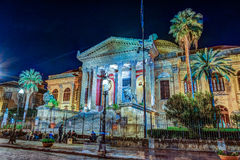 The evening view of Teatro Massimo - Opera and Ballet Theater in Verdi Square. Palermo, Sicily, Italy Royalty Free Stock Photos