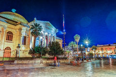The evening view of Teatro Massimo - Opera and Ballet Theater in Verdi Square. Palermo, Sicily, Italy Stock Photography
