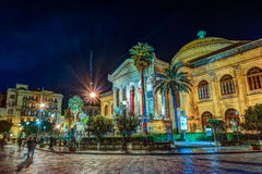 The evening view of Teatro Massimo - Opera and Ballet Theater in Verdi Square. Palermo, Sicily, Italy Stock Image