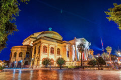 The evening view of Teatro Massimo - Opera and Ballet Theater in Verdi Square. Palermo, Sicily, Italy Stock Images