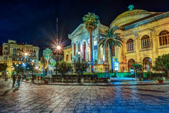 The evening view of Teatro Massimo - Opera and Ballet Theater in Verdi Square. Palermo, Sicily, Italy Stock Photo