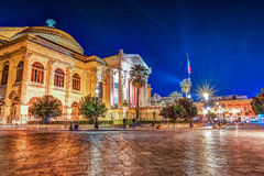 The evening view of Teatro Massimo - Opera and Ballet Theater in Verdi Square. Palermo, Sicily, Italy Stock Photos