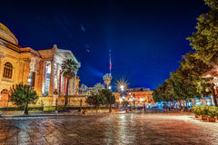 The evening view of Teatro Massimo - Opera and Ballet Theater in Verdi Square. Palermo, Sicily, Italy Royalty Free Stock Image