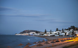 Evening view to the beach in Gammarth Tunis Stock Image