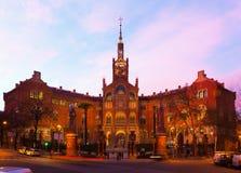Evening view to Hospital de Sant Pau Stock Images