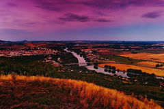Evening view to Labe river with General Chabera bridge and Tyrs bridge between Litomerice city and Mlekojedy village  when viewed Stock Photos