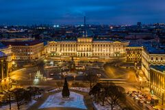 Evening view from the colonnade of the Saint Isaac`s Cathedral in Saint Petersburg, Russia, in winter