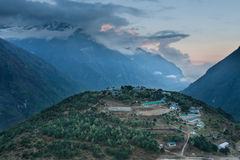 Evening view to Namche Bazar Stock Images