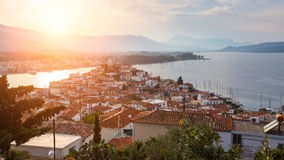 Evening view to Poros island, Greece Royalty Free Stock Image