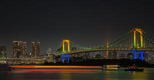 Evening View of Tokyo Skyline. Rainbow Bridge, and Tokyo Tower Stock Photos