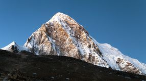 Evening view on top of Kala Patthar and mount Pumo Ri Stock Photography
