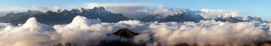 Evening view on top of mount Makalu, Nepal Himalayas stock images