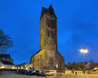 Evening view of tower of St. Mary Church in Wismar, Germany Royalty Free Stock Photos
