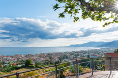 Evening view of the town of Bordighera Stock Photography