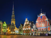 Evening view of Town Hall Square with House of the Blackheads in Riga Royalty Free Stock Image