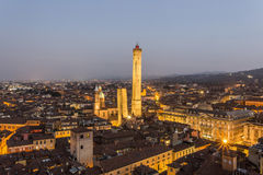Evening view of the Two Towers in Bologna royalty free stock image
