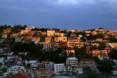 Evening view of Ulcinj in Montenegro. Evening view of Ulcinj, an old roman port in Montenegro stock photos