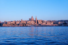 The evening view of Valletta skyline from Sliema. Malta Royalty Free Stock Photo