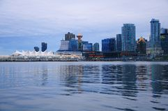 Evening view of Vancouver downtown. Stock Image