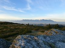 View of the High Tatras with snowy peaks, Low Tatras National park, Slovakia stock images