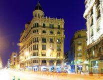 Evening view of Via Laietana  in Barcelona Royalty Free Stock Photo