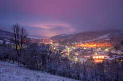 An evening view of the village Stock Photo