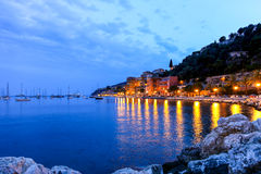 Evening view of Villefranche sur mer in the French Riviera Stock Photos