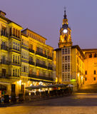 Evening view of Virgen Blanca Square Royalty Free Stock Photos