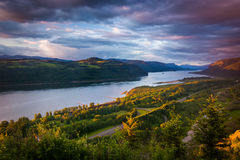 Evening view from the Vista House, Columbia River Gorge  Stock Photo