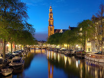 Evening view on the Western church in Amsterdam Royalty Free Stock Image