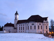 Evening view of Wieskirche. Wieskirche (Pilgrimage Church of Wies in English) is World Heritage church in Bavaria, Germany Stock Image