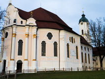 Evening view of Wieskirche. Wieskirche (Pilgrimage Church of Wies in English) is World Heritage church in Bavaria, Germany Stock Images