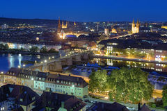 Evening view of Wurzburg Stock Photography