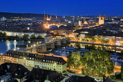 Evening view of Wurzburg, Germany Stock Images
