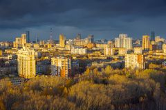 Evening view of Yekaterinburg, Russia royalty free stock photos