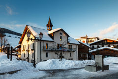 Evening in the Village of Megeve in French Alps Stock Photography