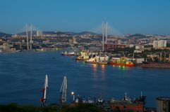 Evening Vladivostok  Golden Horn Royalty Free Stock Photos
