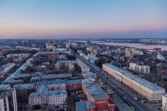 Evening Voronezh downtown. Aerial view from height to Revolution prospect - central street of Voronezh.  Royalty Free Stock Photography