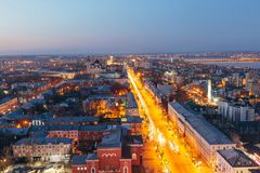 Evening Voronezh downtown. Aerial view from skyscraper roof height to Revolution prospect - central street of Voronezh.  Royalty Free Stock Photos